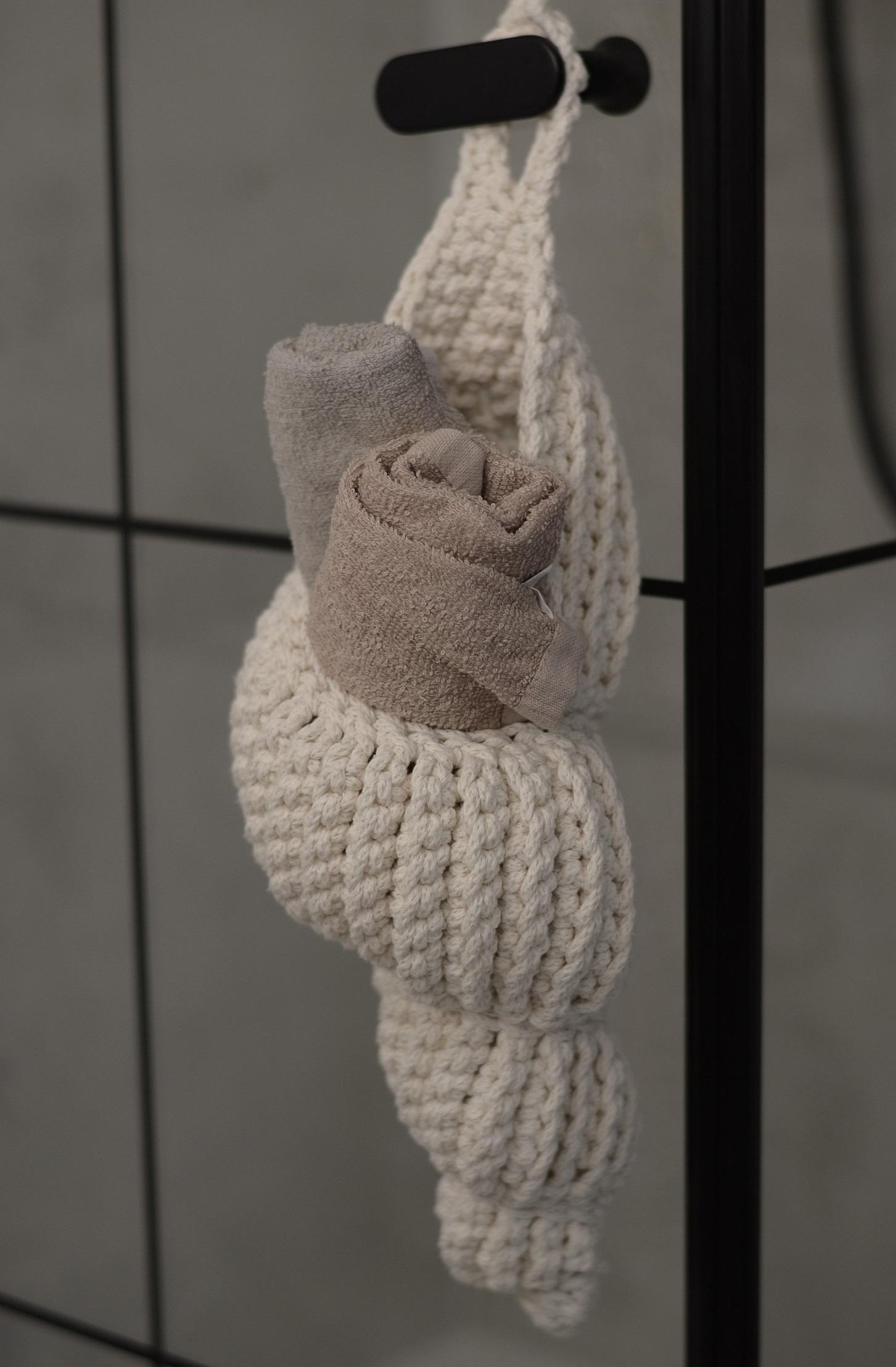 Ozdobny kosz muszla kwietnik ze sznurka bawełnianego