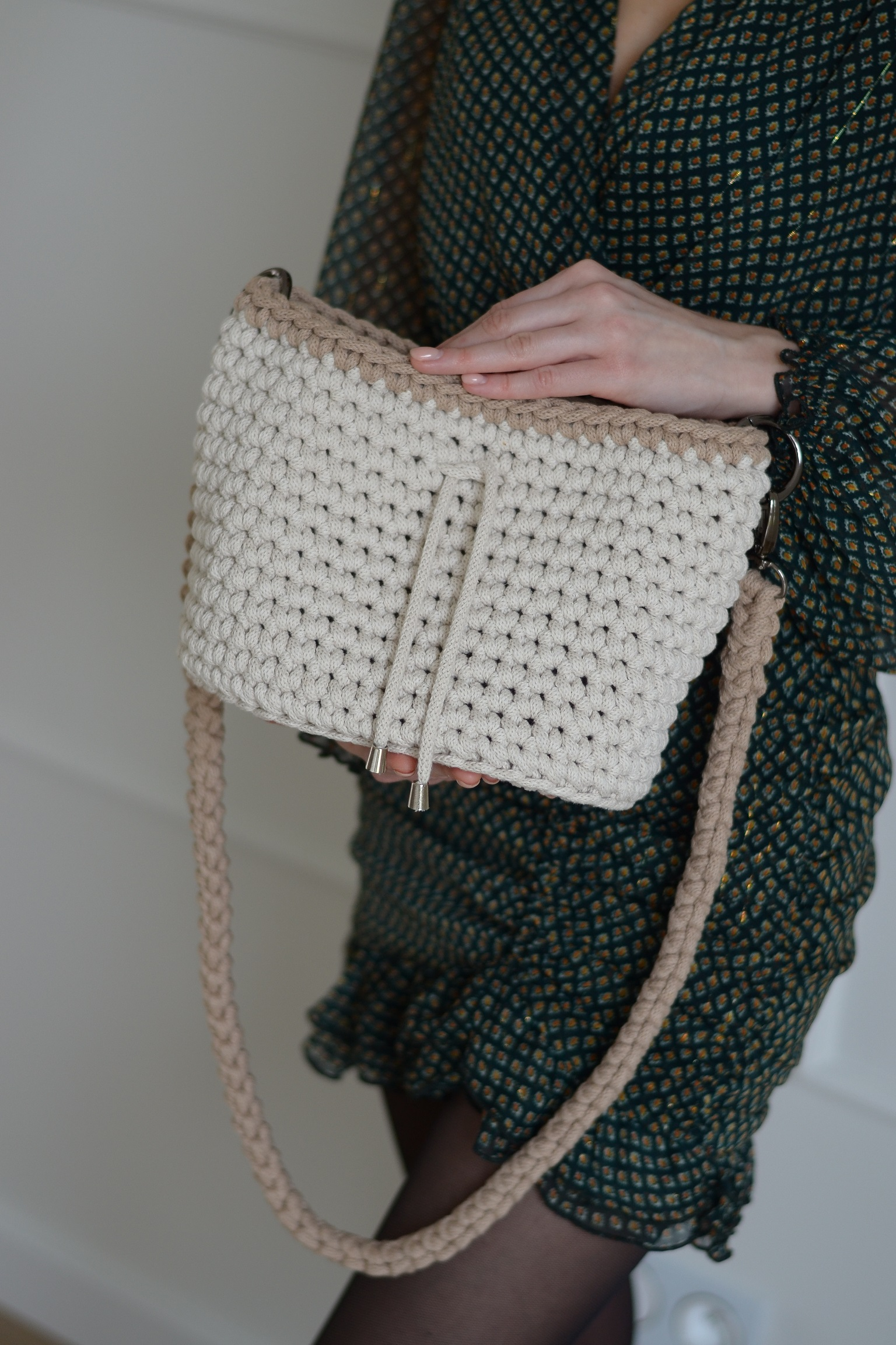Klasyczna torebka MIA worek ze sznurka bawełnianego