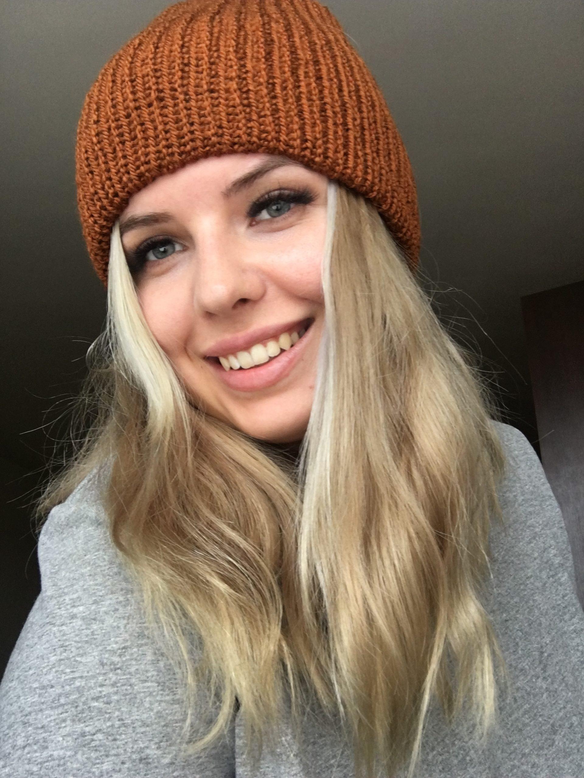 Ciepła czapka na jesień/zimę brązowa handmade