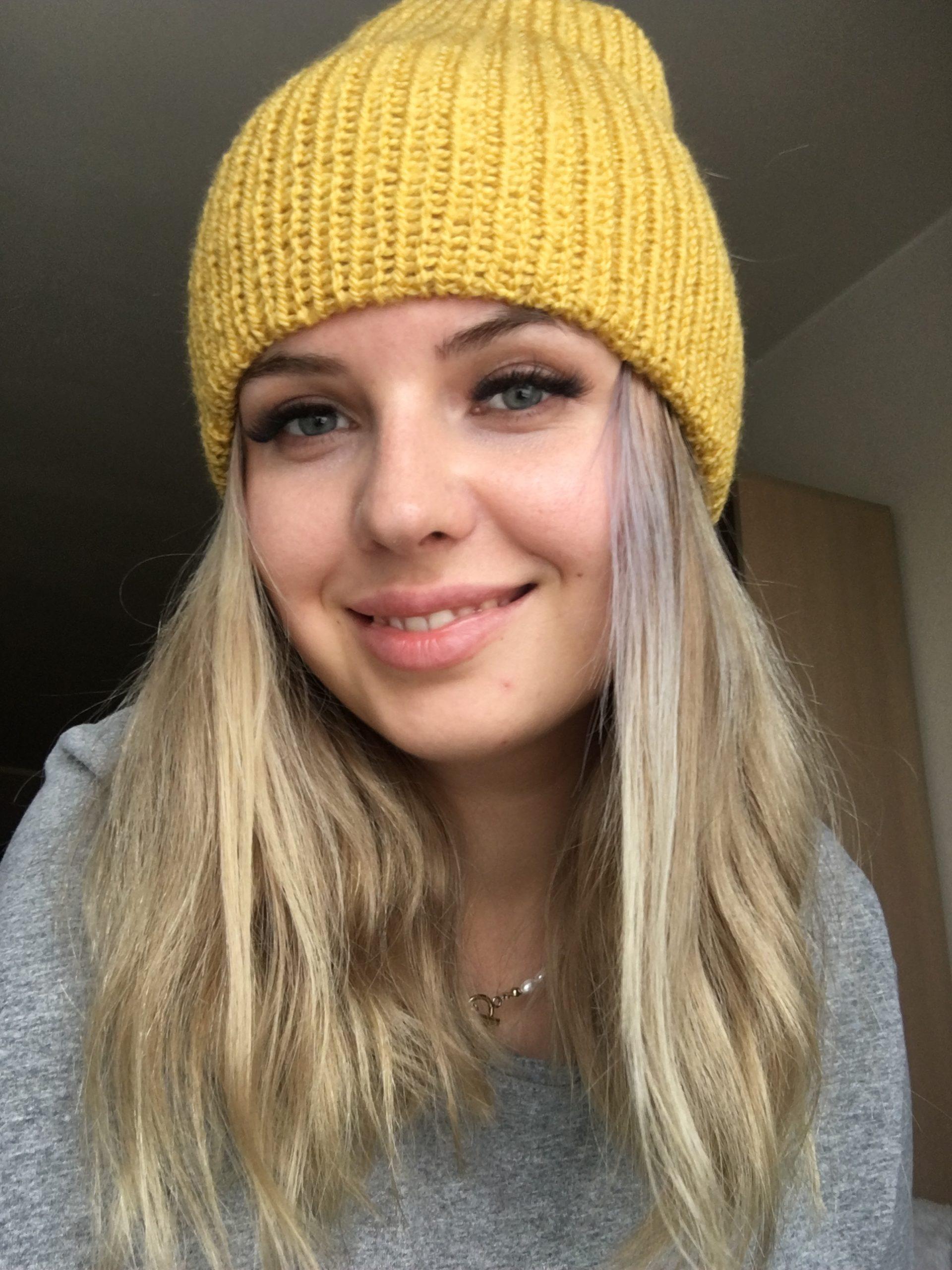Ciepła czapka na jesień/zimę musztardowa handmade