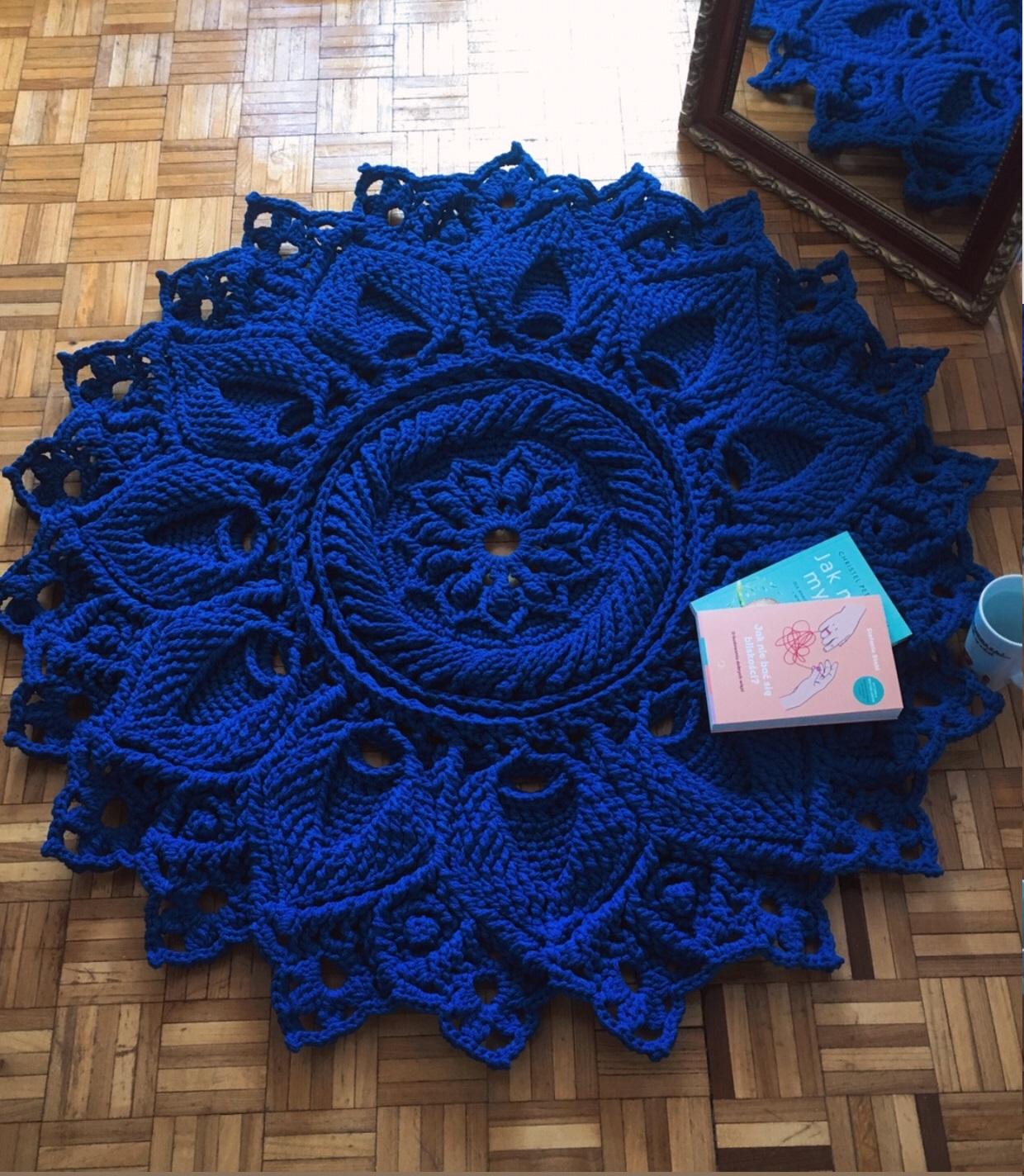 Dywan Ulita 3D Handmade ze sznurka bawełnianego w kolorze chabrowym